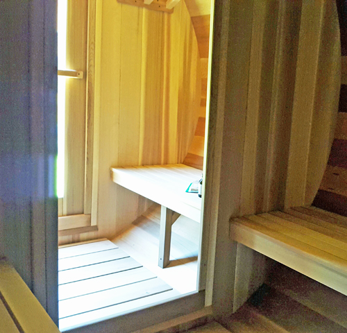 Changeroom-Seats Maxwell Garden Center | Cedar Barrel Saunas: #760PV Panoramic View Barrel Saunas