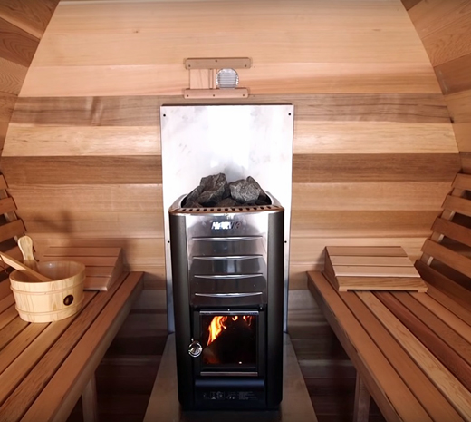 Harvia-Heater-in-POD-Sauna Maxwell Garden Center | Saunas: #PSMINIKNP 7X9 Knotty Western Red Cedar Mini POD Sauna With Porch