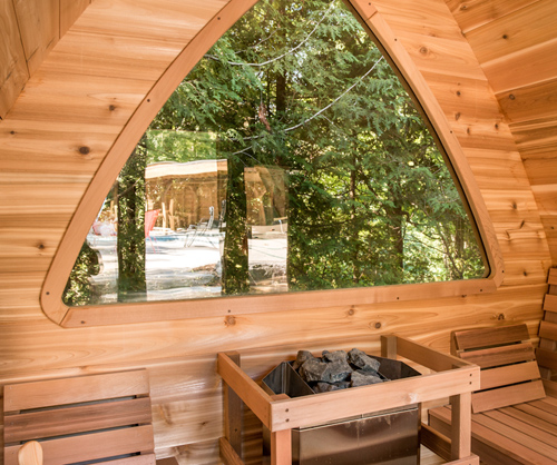 POD-Window-Back-wall-option 872-13 8x13' Knotty Western Red Cedar POD Sauna W/Changeroom & Porch