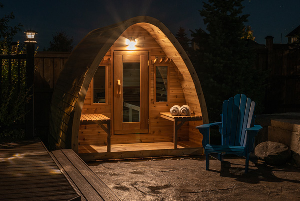 solar-light Maxwell Garden Center | Saunas: #PSMINIKNP 7X9 Knotty Western Red Cedar Mini POD Sauna With Porch